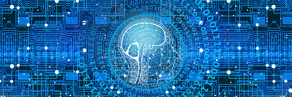 Depiction of a cross section of the human brain overlaying binary code with a blue computer chip background