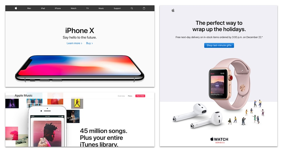 Apple Website, Apple Music, Apple Holiday Email images.