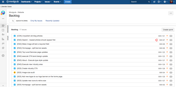 Jira computer software displaying a list of items in a backlog that need to be completed.