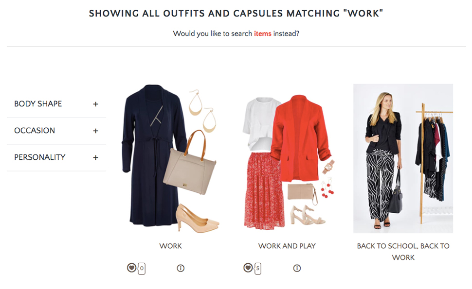 Three sets of business outfits for women.