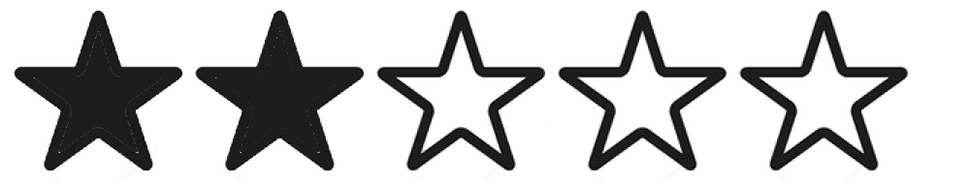 Five black stars; the first two are solid black and the other three are outlined black with white centers.