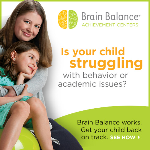 "A parent and child smiling with text that reads ""Is your child struggling with behavior or academic issues? Brain Balance works. Get your child back on track. See how."""