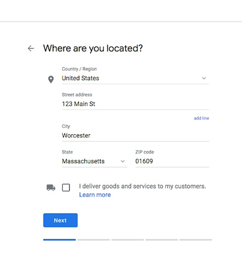 Webpage where the business address is entered.