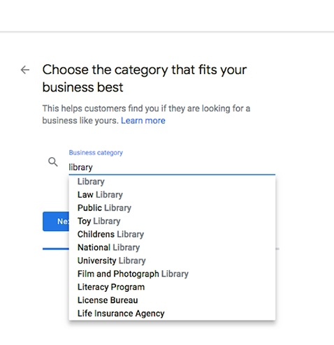 Webpage where the business category is selected from a menu.