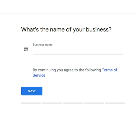 Webpage where the business name is entered for Google My Business.