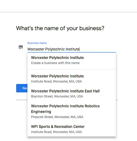 Webpage where the business info is selected from a menu.