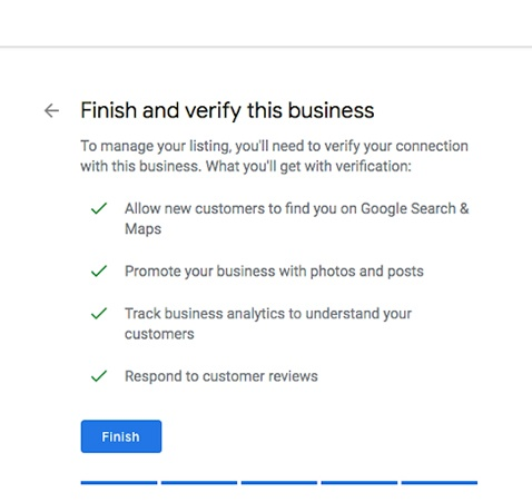 Webpage with business verification information.