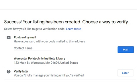 Webpage with business listing confirmation and verification method options.