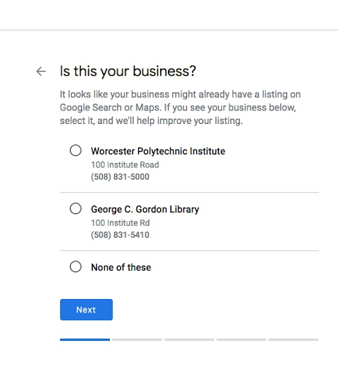 Webpage to select the business that matches the entry.