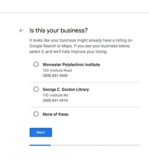 List of businesses that have been claimed.