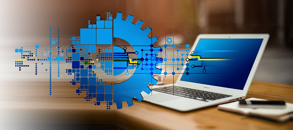 A digital illustration and laptop computer