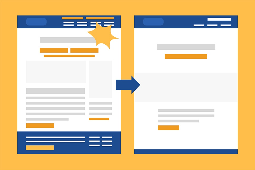 Graphic of two pages side by side demonstrating the change from a complex format to a simple format.