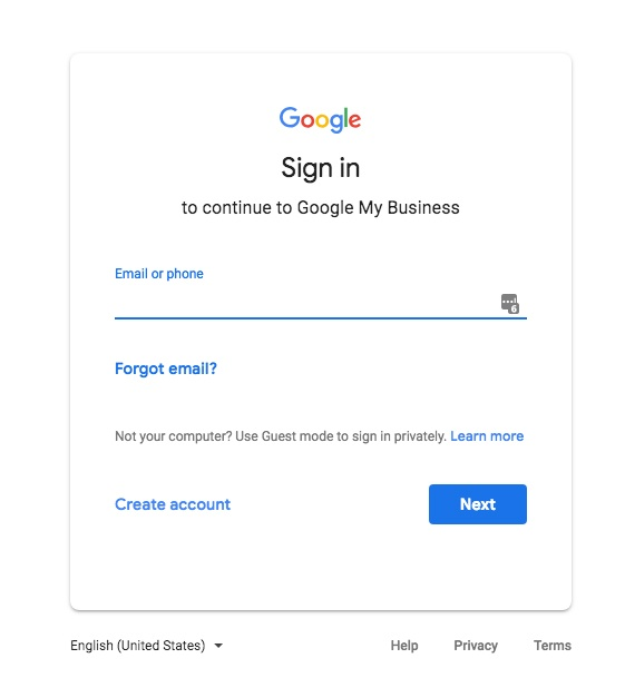Sign In screen for Google My Business.