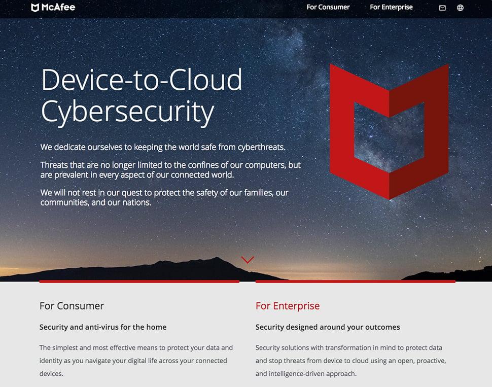 McAfee's cybersecurity website.