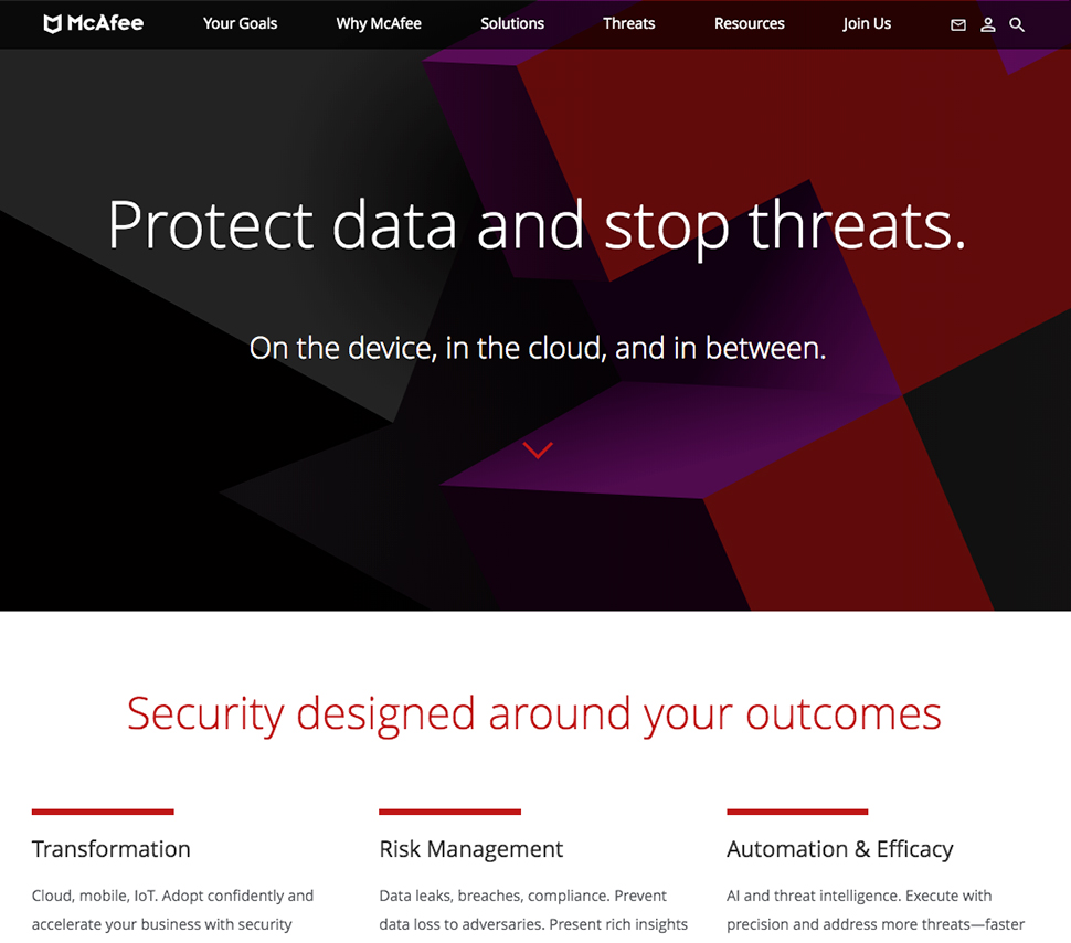 McAfee's data protection web page