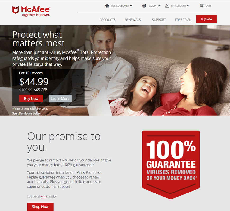 McAfee's website for digital security services