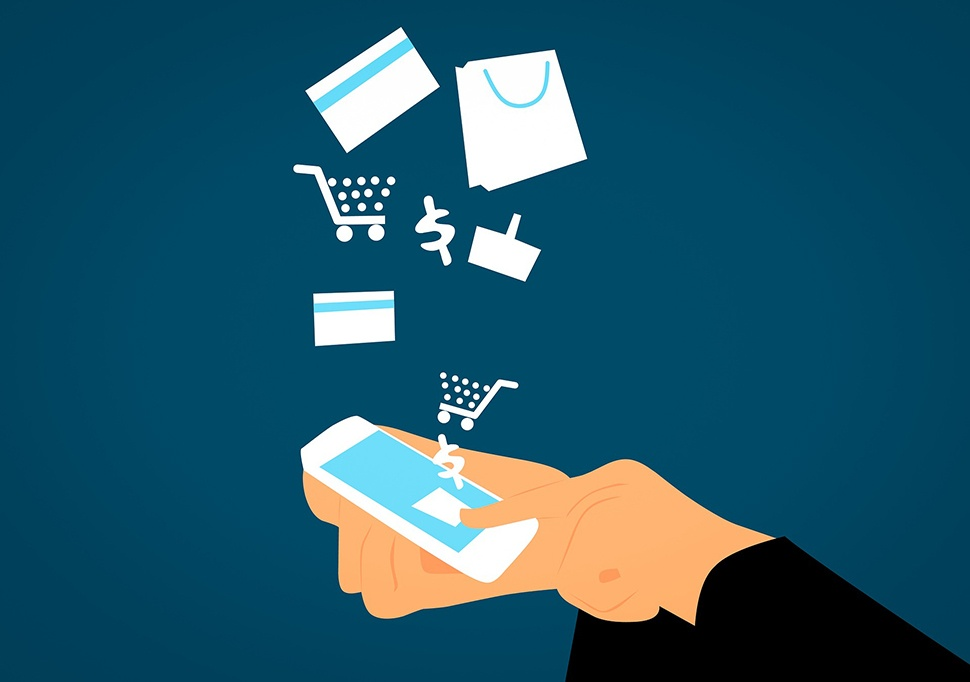 Illustration of someone holding a smartphone with dollar signs, shopping cart symbols, credit cards, and shopping bags coming out of it.