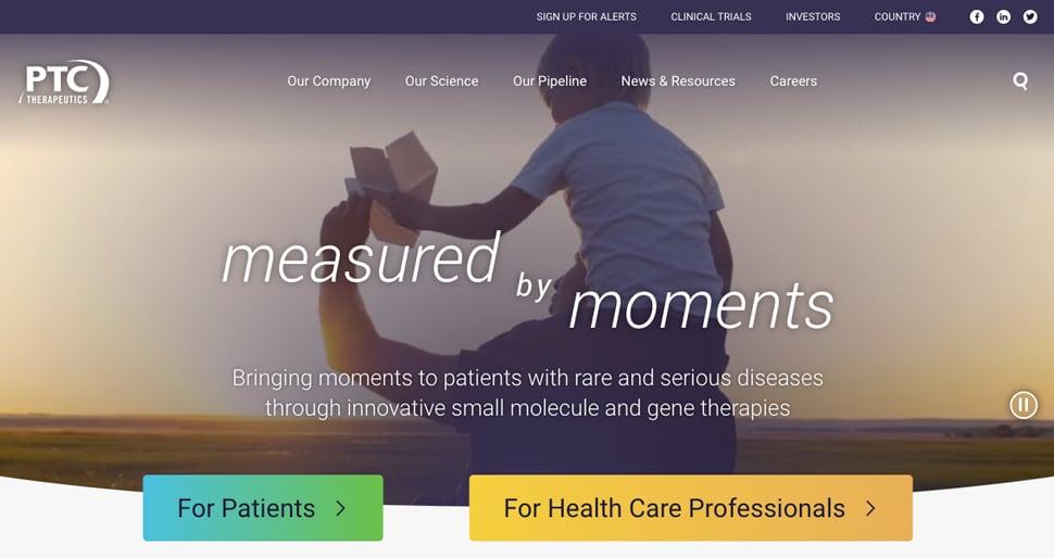 PTC Therapeutics new home page