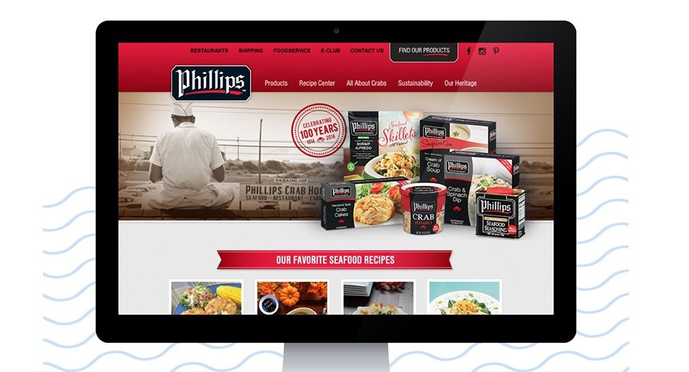 Phillips Seafood website on a desktop computer screen.