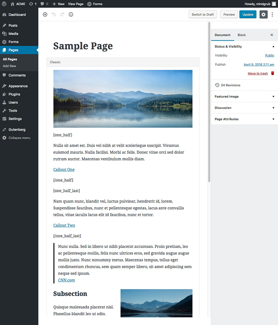 Screenshot of the editing page showing the changes made so far.