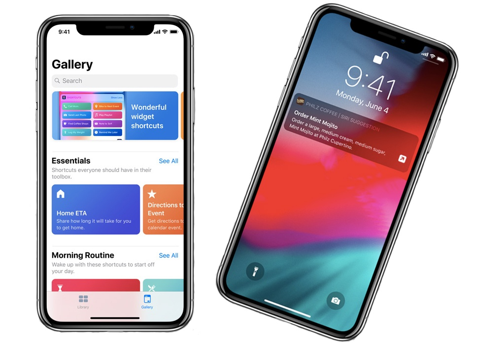 Two smartphones: left displays the Siri shortcuts feature, right displays a Shortcuts suggestion from the lock screen.
