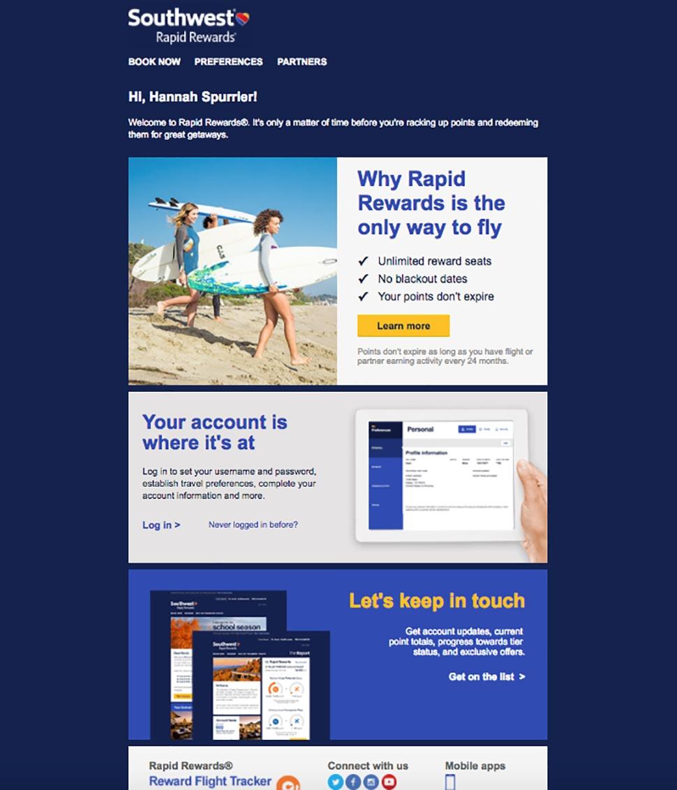 Southwest Rapid Rewards Email Confirmation