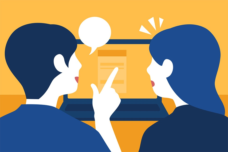 Cartoon image of a man and a woman communicating in front of a computer screen.
