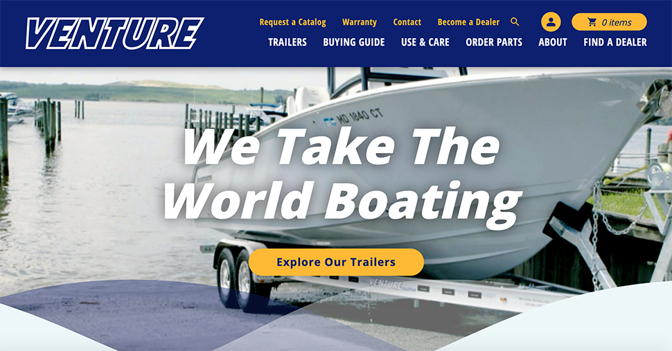 Snapshot of Venture Trailers' home page