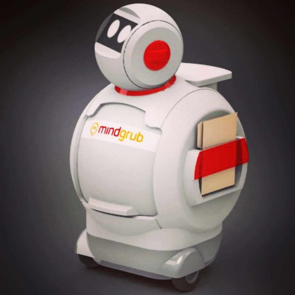 Mindgrub's robot, SNAX. White frame with the Mindgrub logo on its chest and a head with large eyes.