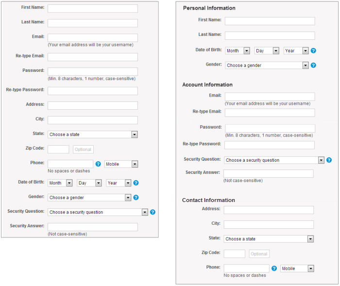 Two registration forms - the form on the left shows data fields without section organization and the form on the right shows data fields within sections