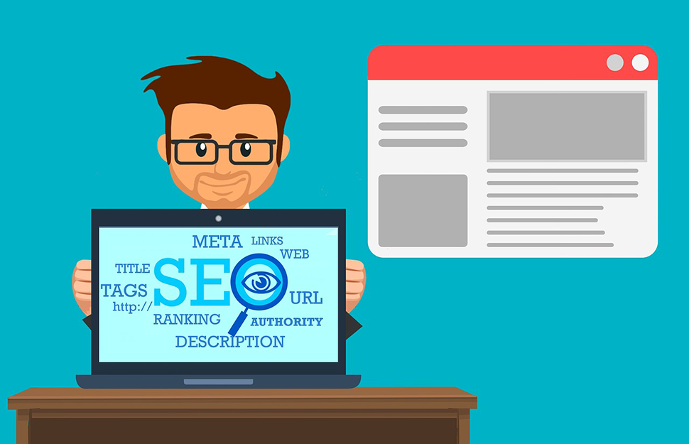 An illustration showing a man wearing glasses standing behind a desk with a laptop displaying SEO terms. There is also an enlarged webpage off to his left.
