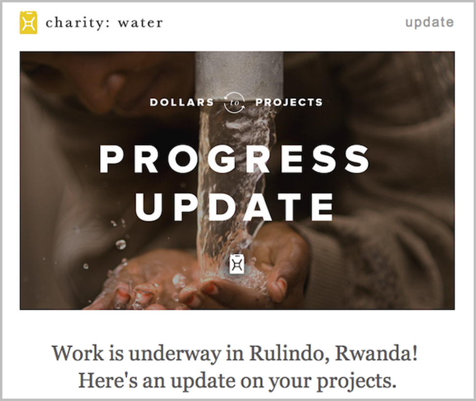 "Running water over someone's hands with the words ""Dollars to Projects"" and ""Progress Update."""