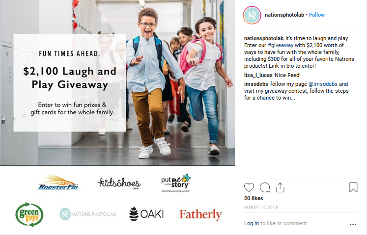 Promotion for giveaways with kids running down a school building hallway in the background.