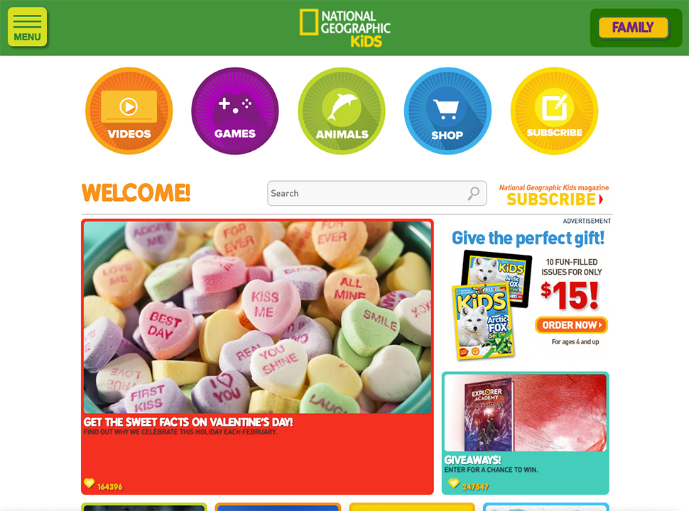 National Geographic Kids home page showing colorful icons and images.