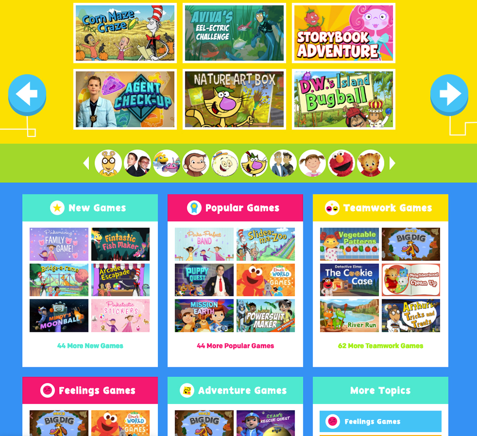 PBS Kids games page shows lots of options for games with bright colors and simple fonts.