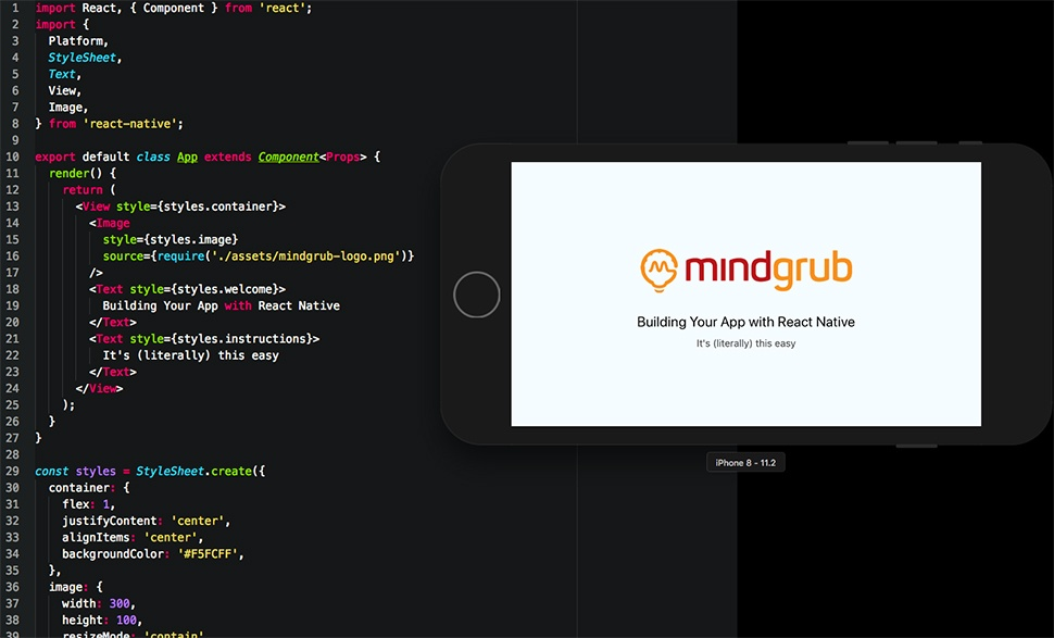 Computer code using React Native with an iPhone displaying the result.