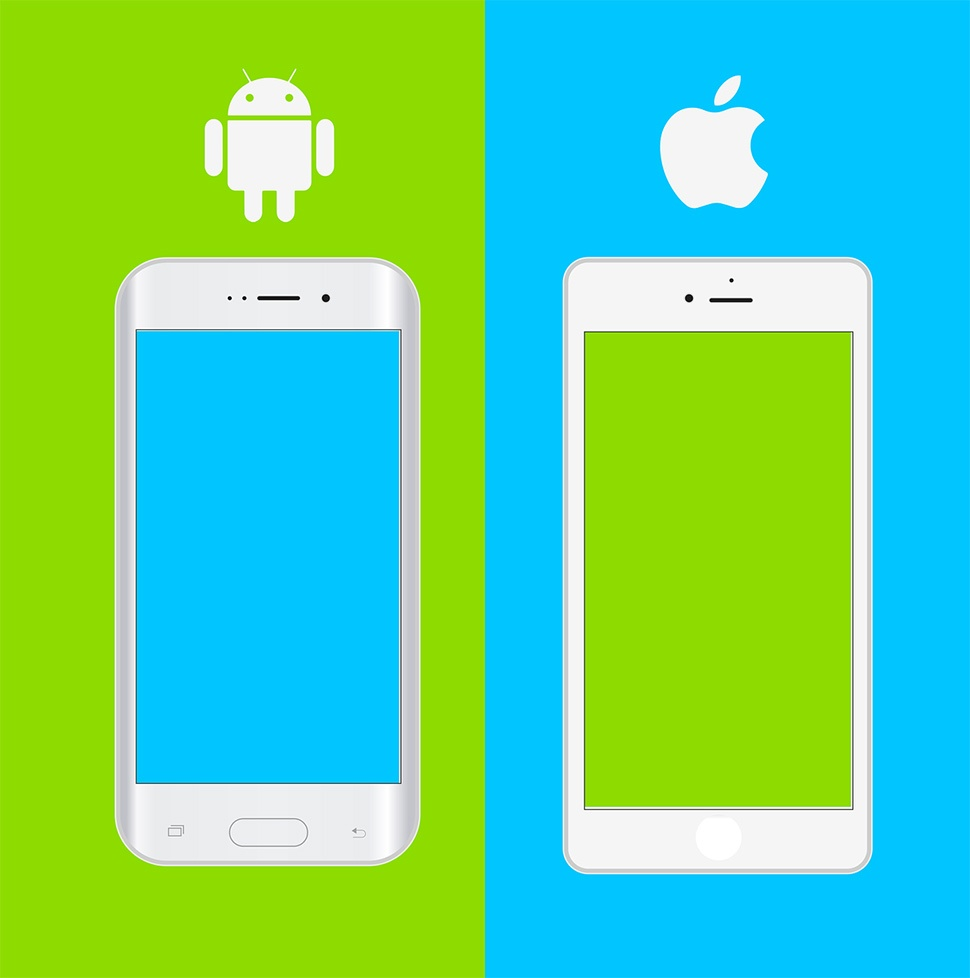 An android phone on the left with a blue screen and green background and an iPhone on the right with a green screen and blue background.
