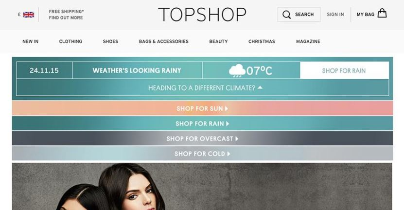 Topshop Website showing weather forecasts for London.