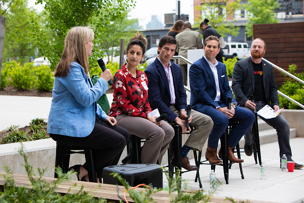 Four real estate and development professionals speaking on the May Outdoor Speaker Series panel, moderated by Mindgrub's Todd Marks