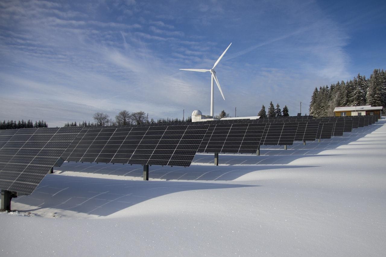 Solar panels and wind energy turbine