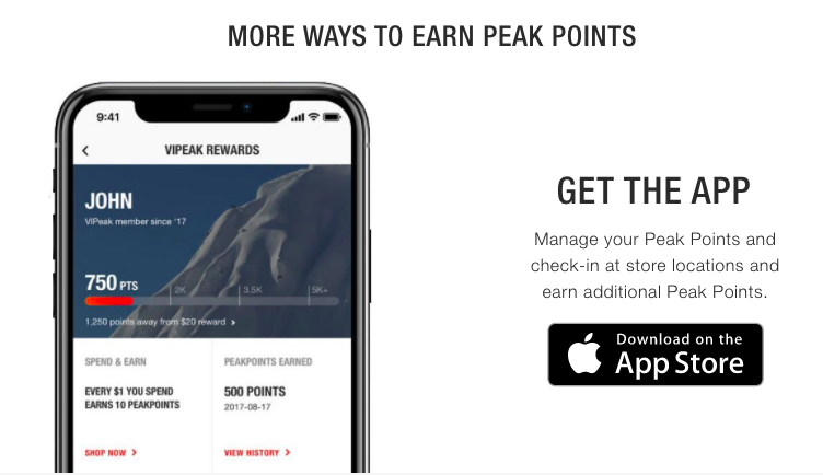 A smartphone with a rewards display with text next to it about downloading the app.