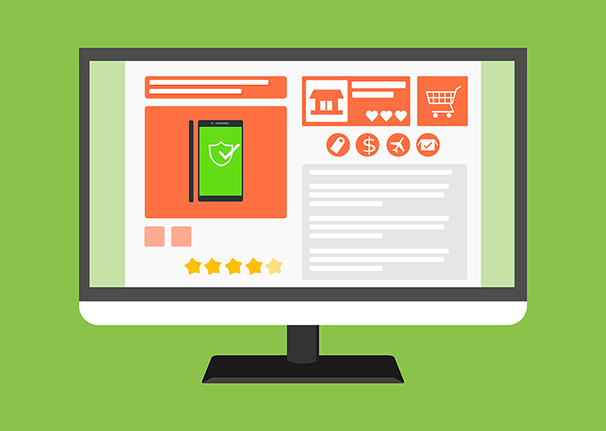An illustration of a desktop monitor displaying an ecommerce website.