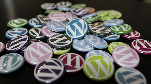 Metal buttons in various colors with the WordPress logo.