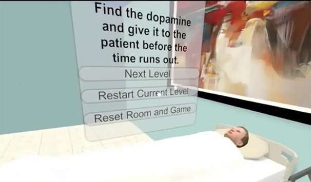 Virtual reality showing a menu with instructions and a patient on a hospital bed.