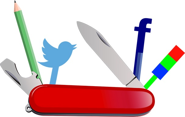 Swiss army knife with some tools replaced with the Twitter symbol, Facebook symbol, a pencil, and analytics symbol.