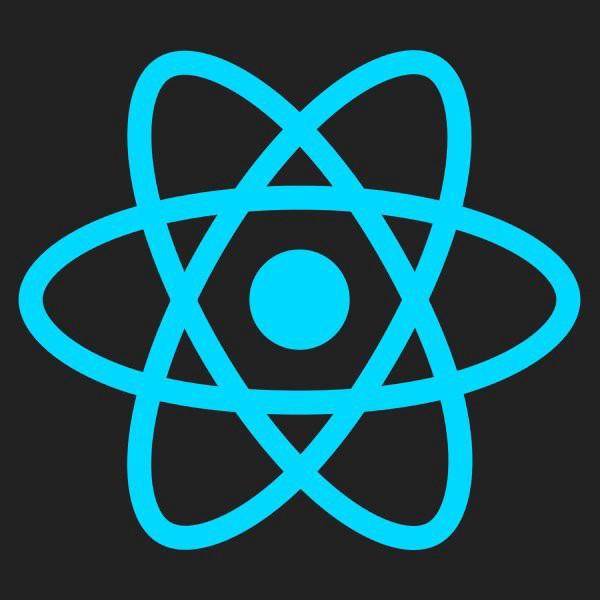 React Native logo - black background, blue logo