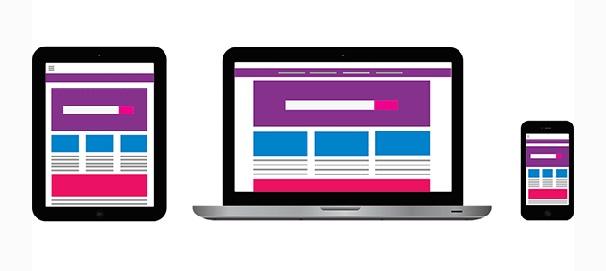 Illustration of a tablet, laptop, and a smartphone with similar screen displays of a website.
