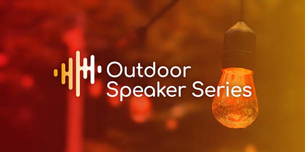 "Text that reads ""Outdoor Speaker Series"" with a red and orange background and a lightbulb."