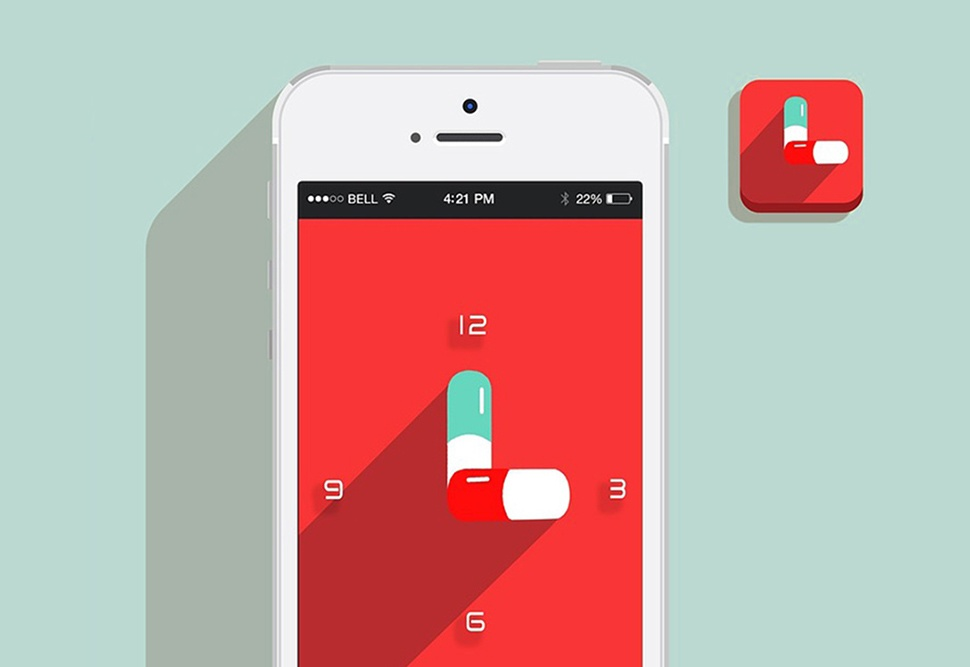 Smartphone display with red background and a clock with pills as hour and minute hands.