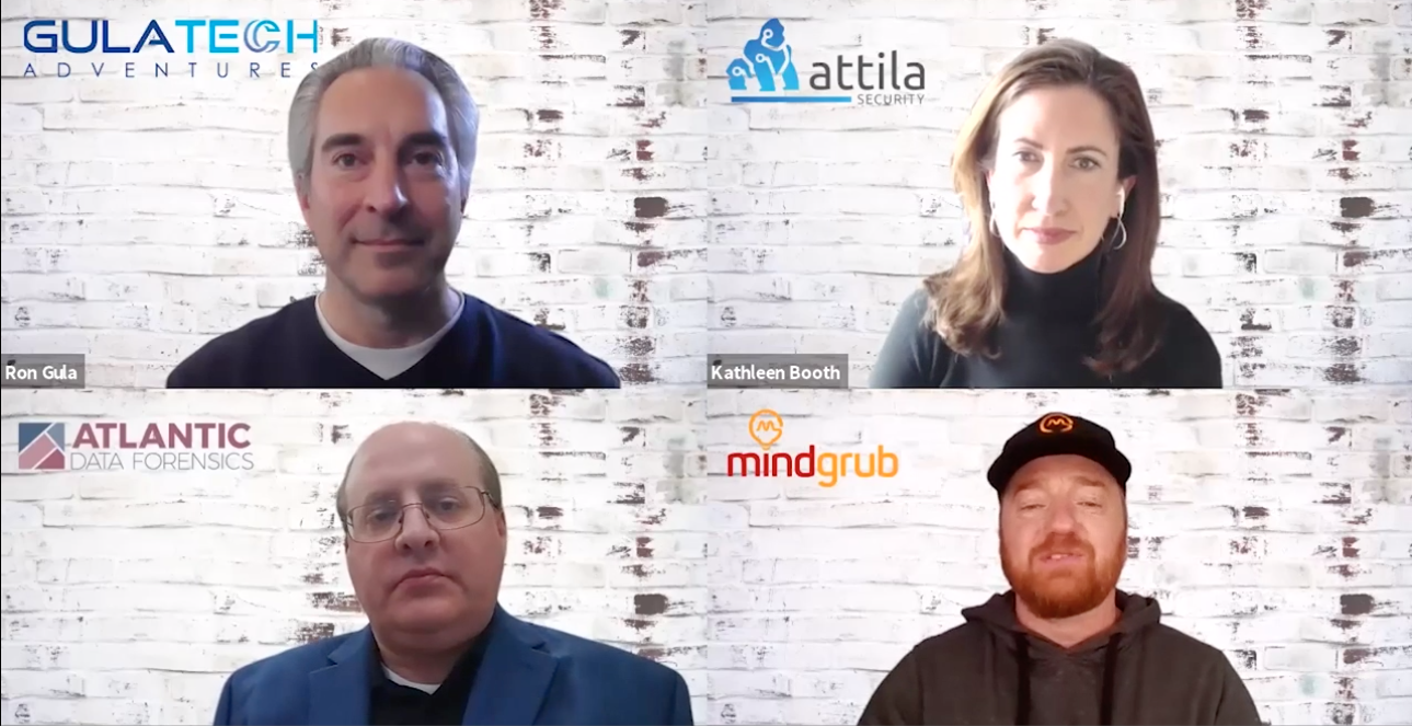 Mindgrub cyber security panelists - Ron Gula, Kathleen Booth, Todd Marks, and Brian Dykstra